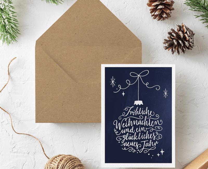 handlettering frau annika weihnachtskarte
